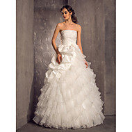 Lanting Princess Petite / Plus Sizes Wedding Dress - Ivory Floor-length Strapless Organza / Taffeta