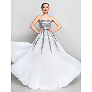 Prom / Formal Evening / Military Ball Dress - Plus Size / Petite A-line Sweetheart Floor-length Chiffon / Sequined