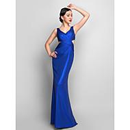 저녁 정장파티/밀리터리 볼 드레스 - 로얄 블루 트럼펫/멀메이드 바닥 길이 V넥 저지 플러스 사이즈
