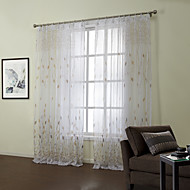 Country Two Panels Floral  Botanical Beige Bedroom Sheer Curtains Shades
