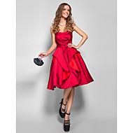 동창회 칵테일 파티 / 휴가 / 댄스 파티 드레스 - 부르고뉴 플러스 라인 끈이없는 무릎 길이 새틴 크기