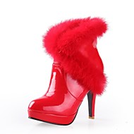 Faux Patent  Leather Women's High-heel  Fashion Sexy  Ankle-high  Boots Collar  with Rabbit Fur Collar  (More Colors)