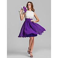 Lanting Short/Mini Georgette Bridesmaid Dress - Multi-color Plus Sizes / Petite A-line Jewel
