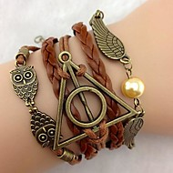 Men's Women Couple's Leather Bracelet Leather Owl Wings / Feather Brown Jewelry 1pc
