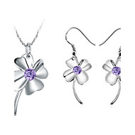 Classic Silver-Plated Silver With Purple Cubic Zirconia Clover Women's Jewelry Set(Including Necklace,Earrings)