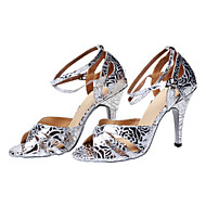 Non Customizable Women's Dance Shoes Latin Other Stiletto Heel Silver