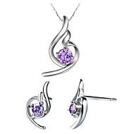 Europese Verzilverde Zilver met zirkonia Wing Shaped Vrouwen sieraden set (inclusief ketting, oorbellen) (wit, paars)