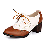 Spring Summer Fall Winter Leatherette Casual Chunky Heel Lace-up Black Brown