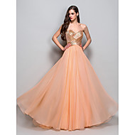 Formal Evening / Prom / Military Ball Dress - Orange Plus Sizes / Petite A-line / Princess Strapless / Sweetheart Floor-length Chiffon