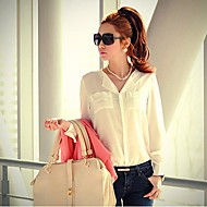 Women's V Neck Loose Chiffon Blouse