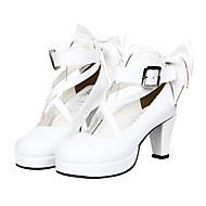 Bowknot White Patent PU Leather Classic Lolita 7cm High-heeled Shoes