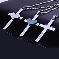 Personalisierte Geschenke Edelstahl-Herz Bibel-Kreuz-Gravur Anhänger Halskette mit 60cm Kette