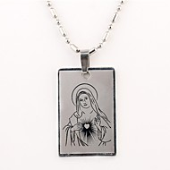 Personalized Gift Virgin Mary Pattern Engraved  Necklace