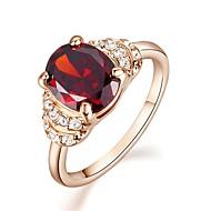 טבעות הצהרה קריסטל חיקוי יהלום ציפוי זהב חיקוי יהלום אבני מזלות אדום תכשיטים חתונה Party קזו'אל
