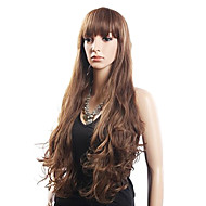 % איכות גבוהה 20% שיער & 80 אדם סיבי שיער בלי כומתה, ארוכה גלי פאה עמיד בחום (בלונד)