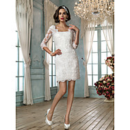 Lanting Bride Sheath/Column Petite Wedding Dress-Short/Mini Square Lace