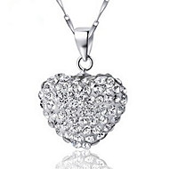 Europe-Style Vintage Platina Women's Slivery Pendant Necklace With Rhinestone(1 Pc)(White,Red)