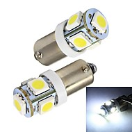 Merdia BA9S 65LM 1W 5x5050SMD LED White Car Indicator Light / Instrument / Clearance Lamp-(A Pair/12V)