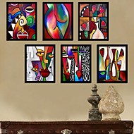 Color del arte abstracto de la historieta Framed Canvas Set de 6