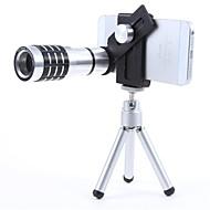 12X Mobile teleobjektiv med Mini stativ og Universal metal clipfor Alle telefoner - Sort + sølv