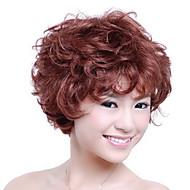 capless kort af høj kvalitet syntetisk rødbrun krøllet hår paryk