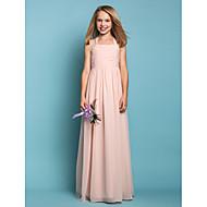 Lanting Bride® Gulvlang Chiffon Junior brudepikekjole Tube / kolonne Haltertopp Naturlig med Ruchiing