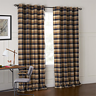 Two Panels Country Plaid/Check Brown Bedroom Cotton Panel Curtains Drapes