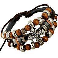 Strang-Armbänder Einzigartiges Design Modisch Leder Schmuck Silberschwarz Schmuck Für Party Alltag Weihnachts Geschenke 1 Stück
