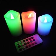 Romantikus Levendula LED Színváltó lángmentes gyertyák Remote Control Párt és Tea Time (3-Set)