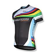 SPAKCT Cycling Jersey Men's Short Sleeve Bike Breathable Quick Dry Front Zipper Wearable YKK Zipper Reflective Strips Jersey Tops100%