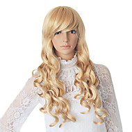 Långt blont Synthetic vågigt Wig Side Bang