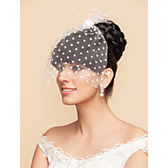 Tulle And Satin Dots Pattern Wedding/Party Blusher Veils With Rose(More Colors)