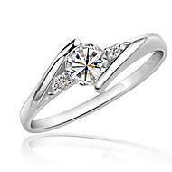새해 맞이 약혼 반지 모조 다이아몬드 지르콘 모조 큐빅 도금 플래티넘 Round Shape 우아한 클래식 실버 보석류 결혼식 파티 생일 약혼 일상
