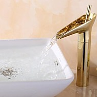 Antique Centerset Waterfall with  Ceramic Valve Single Handle One Hole for  Ti-PVD , Bathroom Sink Faucet
