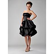 Lanting Bride® Mi-long Satin Robe de Demoiselle d'Honneur - Petite Robe Noire Robe de Soirée Sans Bretelles Grande Taille / Petite avec