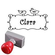 személyre szabott 33x63mm esküvő& üzleti madár minta téglalap gravírozott fényérzékeny pecsét pecsét neve (10 betű)
