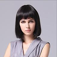 Dæksel Short Bob høj kvalitet syntetisk naturlig sort glat hår paryk fuld Bang
