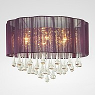 Modern Crystal Ceiling Lamp  6 Lights With Purple Flower Lamp Shade