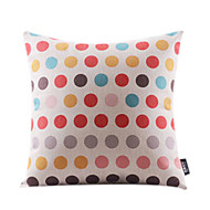 Cotton/Linen Pillow Cover , Polka Dots Modern/Contemporary