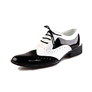 Men's Spring Summer Fall Winter Comfort Leather Party & Evening Flat Heel Lace-up Black White