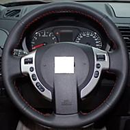 XuJi ™ Black Genuine Leather Steering Wheel Cover for Nissan QASHQAI X-Trail NV200 Rogue