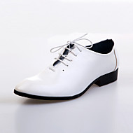 Men's Spring Summer Fall Winter Comfort Leather Wedding Party & Evening Flat Heel Lace-up Black Brown White