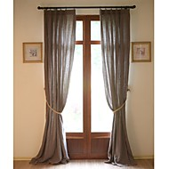 Country  Modern Two Panels Solid Brown Living Room Linen Panel Curtains Drapes