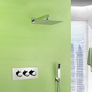 Contemporary Wall Mounted Rain Shower / Handshower Included with  Ceramic Valve Three Handles Three Holes for  Chrome , Shower Faucet