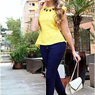 Cordón de la vendimia de las mujeres con volantes bodycon Blusa Camiseta
