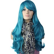 Korkiton High Quality Long Big Wave Synteettinen Sininen Party Wig Side Bang
