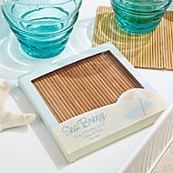 """Orientées de plage Carré bambou Dessous de verres, ensemble de 4 pièces, W4 """"XL4"""" xH0.36 """"chaque"""