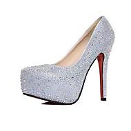 Calçados Femininos - Saltos - Saltos / Plataforma - Salto Agulha - Prateado - Courino - Casual