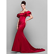 TS Couture Formal Evening Dress - Vintage Inspired Trumpet / Mermaid Off-the-shoulder Court Train Satin with Pleats