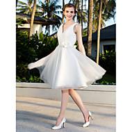Lanting Bride A-line / Princess Petite / Plus Sizes Wedding Dress-Knee-length V-neck Satin
